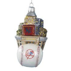 nycwebstorecom official ny yankees christmas ornament baseball and nyc skyline glass