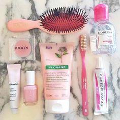 via #lepostcard - travel essentials kitted out in PINK!! #bioderma, #klorane…