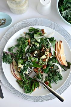 Winter Kale + Beet Greens Salad with Pear, Gorgonzola and Fennel