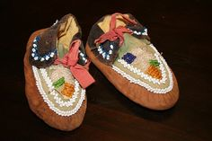 antique Native American Indian Mohawk pair of heavily beaded childs moccasins   c. 1880