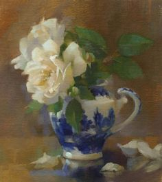 white roses with flow blue pitcher -- Winchester Cathedral in Blue Willow Jug by Pat Kelly Oil ~ 9 x 8 Art Floral, Still Life Flowers, Still Life Oil Painting, Still Life Art, Fruit Art, Beautiful Paintings, Painting Inspiration, Flower Art, Pat Kelly