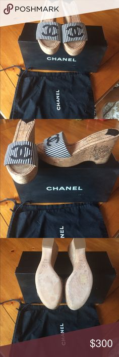 Chanel mules Never worn Chanel Mules! So perfect for summer. Size 81/2. Paid $550.  Original box and shoe bags. CHANEL Shoes Mules & Clogs