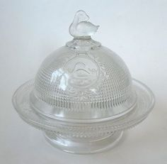 EAPG Canton Glass Co. Swan With Mesh Pattern Glass Butter Dish |