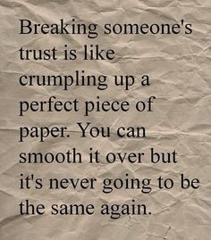 "This describes how I feel to a ""t!!"" You can want and have a friendship but after that trust is gone, what is there left? Shallow and meaningless conversations. breaking trust, amen, trust quotes, life lessons, breaking someones trust, thought, absolut, quotes trust, true stories"
