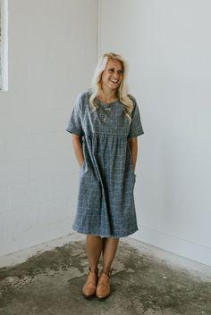 Denim Blue Linen Dress | ROOLEE