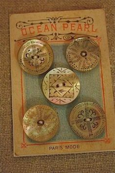 Lovely Victorian etched shell buttons
