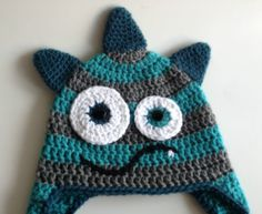 monster , monsters , hat , blue , grey , crochet , crocheted , yarn