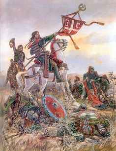 The Seljuk Turks defeat the Byzantine army at the Battle of Manzikert, 1071 - Pintura y la Guerra. Sursumkorda in memoriam Historical Art, Historical Pictures, Military Art, Military History, Ancient Art, Ancient History, Byzantine Army, High Middle Ages, Medieval Armor