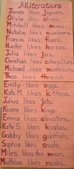 K writing workshop: alliteration ideas