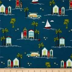 Riley Blake Offshore Main Blue from @fabricdotcom  Designed by Deena Rutter for Riley Blake, this cotton print fabric is perfect for quilting, apparel and home decor accents. Colors include brown, red, orange, shades of blue, green, grey, taupe and white.