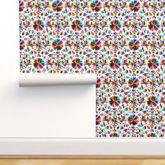 Rainbow Wallpaper - Bug And Chickens By Fabric Is My Name - Mexican Colorful Starburst Removable Self Adhesive Wallpaper Roll by Spoonflower
