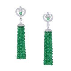 Fabergé Emerald and Diamond Imperatrice Tassel Earrings #Emeralds #Tassels