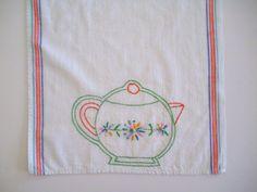 Embroidered Tea Towel Teapot Vintage Flour Sack Towel by CraftyMJC, $14.95