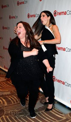 Sandra Bullock and Melissa McCarthy get active at CinemCon | Get more hilariousness here!