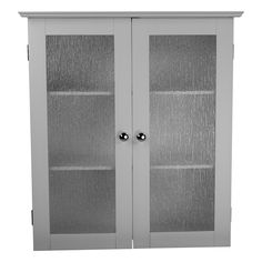 wall cabinet with two tempered glass doors modern bathroom storage