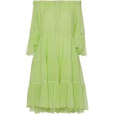 Blumarine Off The Shoulder Dress ($1,230) ❤ liked on Polyvore featuring dresses, green, off-shoulder dresses, blumarine, green dress, draped dress and off the shoulder day dress