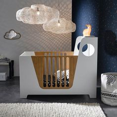 Sweet modern nursery room with two delicate cloud lamps #lightingdesign #cloudlamps #nurseryideas Find more inspirations at www.circu.net