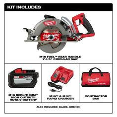 Milwaukee M18 FUEL 18-Volt 7-1/4 in. Lithium-Ion Cordless Rear Handle Circular Saw Kit with 12.0 Ah Battery and Rapid Charger-2830-21HD - The Home Depot Cordless Circular Saw, Milwaukee M18, Cordless Tools, Electronic Recycling, Led Work Light, Battery Sizes, Recycling Programs, Outdoor Power Equipment, Charger