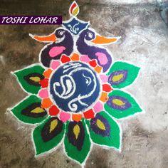 Diwali Peacock Rangoli by Toshi