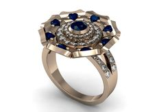 14k Rose Gold Beautiful New Fashion Engagement Ring with by VOLISA, $1480.00