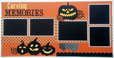 Carving pumpkins is an activity that I look forward to each Halloween! The kids love to plan out their ideas for their yearly jack o lantern. This layout has the perfect title and embellishments to showcase your special photos from this years activities. This is a two page premade scrapbook layout page. Each page measures 12x12. There are 5 mats for photos. Two mats will hold 3.5x5 photos, one mat will hold a 4x6 photo, and two mats will hold 4x4 photos. Thanks for looking! More Halloween…