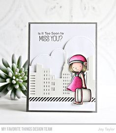 Stamps: BB Adventure is Calling Die-namics: BB Adventure is Calling, City Block, Stitched Cloud Edges Joy Taylor Joy Taylor, Mft Stamps, Travel Themes, Digital Stamps, Creative Cards, Hello Everyone, Homemade Cards, Pattern Paper, Cards