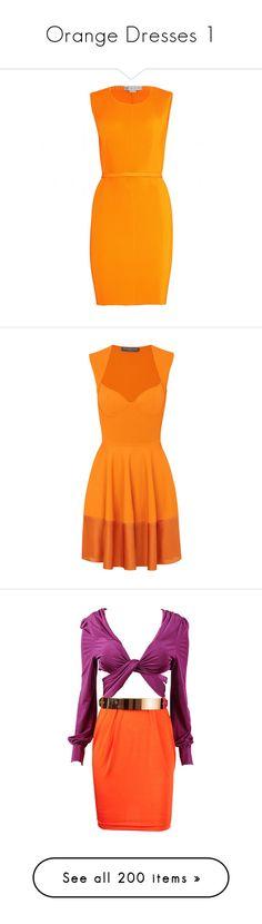 """Orange Dresses 1"" by kingcrimson ❤ liked on Polyvore featuring dresses, vestidos, orange, stella mccartney, bright orange, bright neon dresses, bodycon dress, stretch dresses, snap dress and neon bodycon dress"