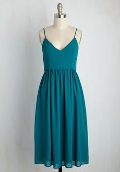 A Grace of One's Own Midi Dress - Blue, Solid, Daytime Party, A-line, Sleeveless, Summer, Woven, Better, Long, Casual, Sundress, Party, Homecoming