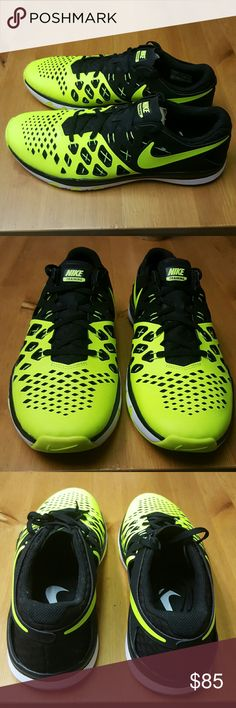 Mens Nike Train Speed 4 NWOB  From Nike, the Train Speed 4 men's training shoes feature: synthetic upper with Flywire technology low-profile styling lace-up closure IU foam midsole with recessed TPU in the forefoot rubber outsole Imported., Color: Volt/Black, Material: Rubber,Lace,Synthetic, Pattern:Solid Nike Shoes Athletic Shoes