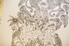 "the detailing is amazing! ""Emma Shipley blew all the buyers and staff away as soon as she pulled out her amazing pencil drawings.  An RCA textiles graduate from this year, she's already collected a few accolades for her beautiful designs that she has transferred to silk scarves"""