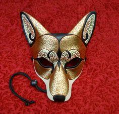 Bronze Venetian Coyote Mask... handmade leather mask