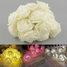 20LED Rose Flower Battery Garden Christmas Home String Garland Decor Light Gift