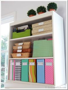 How To Cover a File Box with Gift Wrap + Free Printable File Labels | In My Own Style