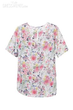 Sleeves, Tops , $25.79, Gentlewomanly New Summer Round Neckline Short Sleeves Chiffon Print Blouse