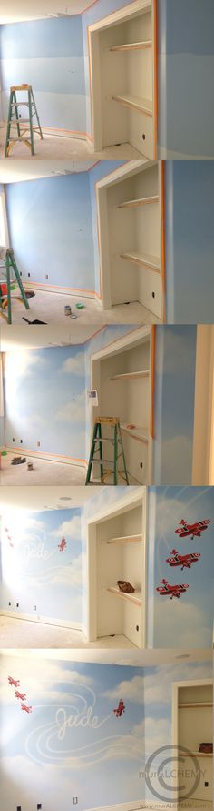Painting an ombre wall: sky mural with clouds and planes...personalized with child's name!