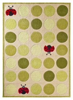 Harriet Bee This Clendenin Hand-Tufted Ivory/Green Area Rug boasts a distinctive design that's sure to charm children of all ages and interests. Perfect for a playroom or bedroom. Rug Size: Rectangle x Kids Area Rugs, Blue Area Rugs, Ladybug Nursery, Ladybug Room, Baby Room Rugs, Baby Rooms, Whimsical Fashion, Texture, Rug Material