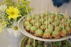 chilled grapes dipped in caramel and chopped nuts (new take on caramel apple bites)