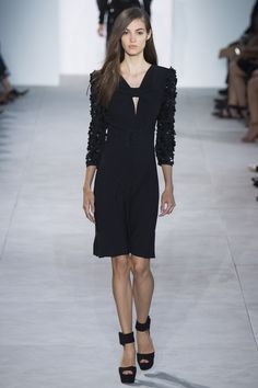 Little black dress by Michael Kors Collection Spring 2017 Ready-to-Wear Fashion Show - Camille Hurel