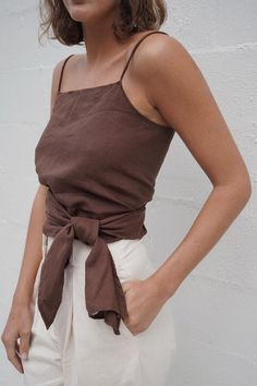 Our Linen Wrap top cuts an alluringly simple silhouette, with a high modest neckline and. Fashion Week, Look Fashion, Fashion Outfits, Womens Fashion, Fashion Trends, Casual Outfits, Cute Outfits, Fall Outfits, Cosplay Costume