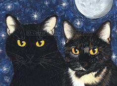 Black Cat Art Tortie Cat Moon Stars Gothic Fantasy by tigerpixie