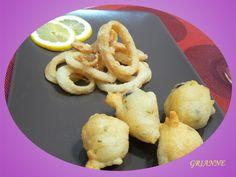 Frittelline di alghe e anelli di totano fritti