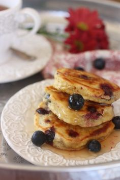 Healthy Banana Blueberry Pancakes  http://www.nourishmagazine.co.nz/28/banana-blueberry-pancakes/