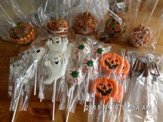 Halloween chocolate lollipops and candy appled