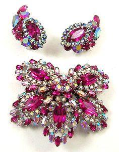 SHERMAN Fuchsia & Aurora Borealis Pin & Clip Earrings Set