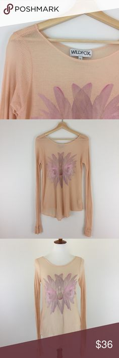 """Wildfox Couture Twin Lotus Cassidy Tee Super soft and roomy - 100% lyocell - wide scoop neck - long sleeves - sheer ribbed fabric - rounded hem - two tiny imperfections ( see photos) - approx measurements lying flat: armpit to armpit 18"""", hips 22"""", length 25"""" - great pre-loved condition Wildfox Couture Tops Tees - Long Sleeve"""
