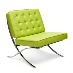 Barcelona Chair, 1929, by Ludwig Mies van der Rohe (b.1886, Germany).  Who says it always has to be in black?  I like this apple green color.