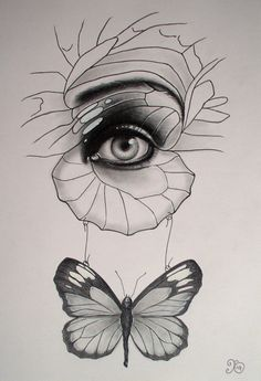 drawing pencil eye mouth surreal unique butterfly pen ink surrealism doll drawings unusual portrait quirky parts artwork butterflies coloured sold
