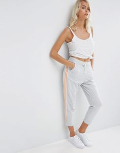 "Buy it now. ASOS Cropped Joggers with Side Stripe - Grey marl. Joggers by ASOS Collection Soft-touch sweat Drawstring waistband Side pockets Cropped length Slim fit - cut close to the body Machine wash 50% Cotton, 50% Polyester Our model wears a UK 8/EU 36/US 4 and is 168cm/5'6"" tall , pantalónjogger, joggers, jogging, joggingbásico, joggingculotte, joggings, jog, jogger. Gray Asos  joggers  for woman."