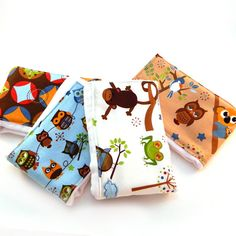 Baby Burp Cloths  Animals Set of 4  Green by Sewingdreamsnotions, $19.00