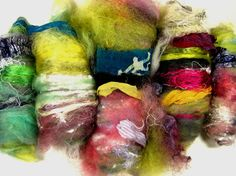 Nairobi Art Rolag Set for spinning and felting by yarnwench, $31.20